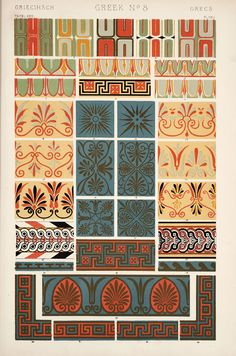 Decorative Arts: The grammar of ornament: [Greek ornament. Plates 15, 16, 17, 18, 19, 20, 21, 22]