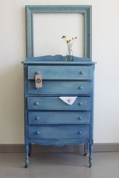 Vintage 1940's dresser, painted in Chalk Paint® decorative paint - Napoleonic Blue on the base, and a wash of Duck Egg Blue. Available immediately at Kalology Studio | 3801 S. Congress Ave. Ste. 102 | Austin, TX 78704 | www.kalolgystudio.com