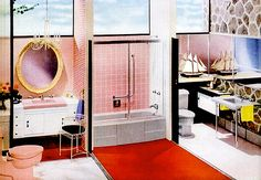 & His Bathroom His and Her Bathroom Definitely ambitious with the decor!His and Her Bathroom Definitely ambitious with the decor! Mid Century Modern Decor, Mid Century Design, Small Bathroom Ideas On A Budget, Mid Century Bathroom, Vintage Bathrooms, 1950s Bathroom, Mid-century Interior, Vintage Architecture, Vintage Interiors