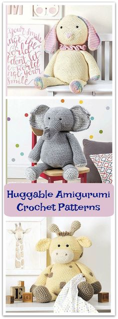 Little kids will love making friends with any of the cute animals in Huggable Amigurumi from Leisure Arts. Super bulky weight yarn makes them extra cuddly and quick to crochet. #ad #affiliate #crochet #pattern #kids