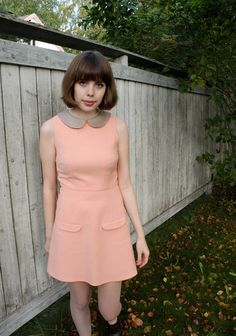 Peachy dress with A-line skirt