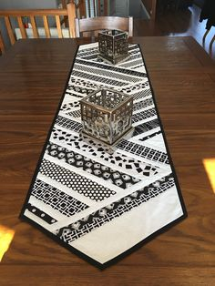 Handmade table runner. Black and white table runner. Quilted