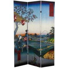 6 Ft. Tall Double Sided Hiroshige Room Divider   Sea At Satta/Teahouse  . Oriental  FurnitureRoom Dividers