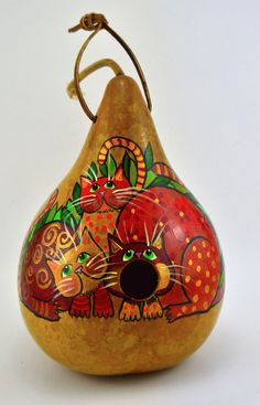 Gourd Birdhouse - whimsical cats waiting for the birds to make their nests! www.gourdament.etsy.com