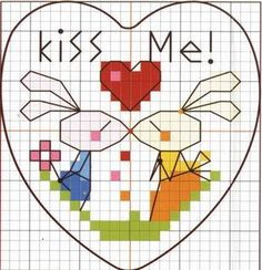 "Heart with bunnies - so sweet ""Kiss Me"" Cross-stitch"