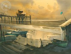 Robert Landry - Sunset at Newport - California art - fine art print for sale, giclee watercolor print - Californiawatercolor.com