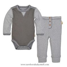 Baby Girl Clothes Burt's Bees Baby Baby Organic Long Sleeve Bodysuit and Pant Set, Charcoal Classic Stripe, 6-9 Months