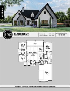 #advancedhouseplans #houseplans #floorplans #homeplans #designbuild #homebuilderplans #architecturaldesign #homedesign #curbappeal #martinson #walkinpantry #moderncottage #oldworldcharm #charminghomedesign #exteriorhomeideas #homeexterior Modern Cottage Style, Cottage Style House Plans, Pole Barn Designs, Walk In Pantry, Sliding Glass Door, Cool House Designs, Building Design, Great Rooms, Architecture Design