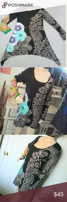 Desigual Abstract Dress Multi-Textured and multu-patterned dress with uneven hem which is longer on the sides.  Very beautiful 100% cotton dress for the casual or somewhat dressy occasion.  The back is plain black. Tag has been removed, but will fit a Large to Xlarge. Desigual Dresses