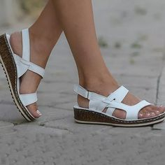 Lostisy LOSTISY Cross Buckle Slippers Peep Toe Casual Wedges Sandals is comfortable to wear. Shop on NewChic to see other cheap women sandals on sale. Womens Slippers, Womens Flats, Loafers Online, Themed Outfits, Sandals For Sale, Types Of Shoes, Low Heels, Wedge Sandals, Peep Toe