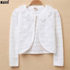 Famli Kid Girls Bolero Jacket 2017 Children Girl Wedding Short Outerwear Summer Kids White Lace Cardigan Shawl Jacket Coat #Affiliate