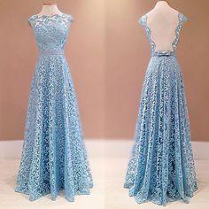 Unique Blue A-line round neck lace long prom dress for teens, lace bridesmaid dress