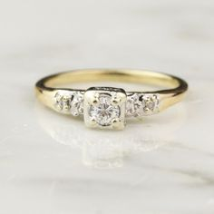 Vintage Diamond Engagement Ring With Side Diamonds In 14k White And Yellow Gold