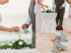 //Sand Ceremony// Stefanee and Jorge's Beautiful Coral and Gray Destination Beach Wedding in Mexico » Two Birds Photography