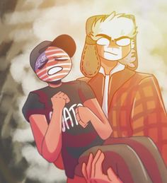 Countryhumans Canada x USA Canada x USA brothers are fooling around Author: ☭Da Nass☭ from aminoapps Usa Tattoo, Usa Party, Brothers In Arms, Mundo Comic, America And Canada, Best Hotel Deals, Wattpad, A Whole New World, Country Art