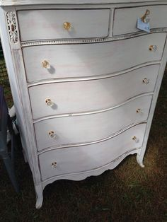 White Antique Dresser could do a shabby chic white with a little distressing and paint