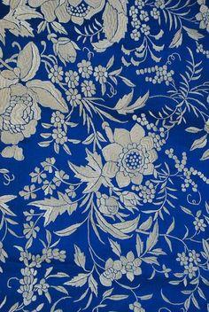 Antique Spanish  Manton de Manilla Sapphire Blue Shawl, detail