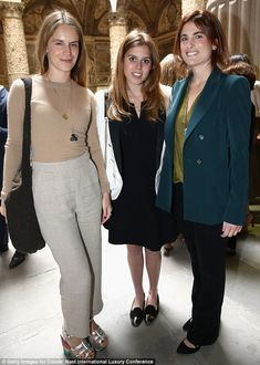 Fashionable friends: Princess Beatrice (centre) poses alongside Tory Burch in Florence thi...