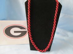 """University of Georgia Handmade Kumihimo Seed Bead Necklace - Black & Red. Length 31""""  - UGA Colors by LsFindsandCreations on Etsy"""