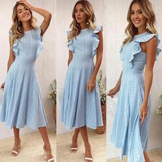ECOWISH Womens Dresses Elegant Ruffles Cap Sleeves Summer ALine Midi Dress Blue M ** Visit the image link more details. (This is an affiliate link) Dresses Elegant, Beautiful Dresses, Nice Dresses, Casual Dresses, Summer Dresses, Awesome Dresses, Summer Outfits, Summer Shorts, Romantic Dresses