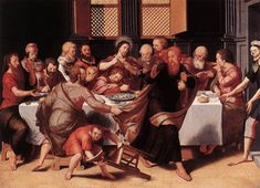 POURBUS, Pieter Last Supper 1548 Oil on oak panel, 46,5 x 63 cm Groeninge Museum, Bruges *Notice the figure on the far right