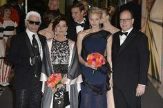 Monaco royals attend the Rose Ball 3/29/2014: Princess Charlene, Prince Albert, Princess Caroline and Karl Lagerfield