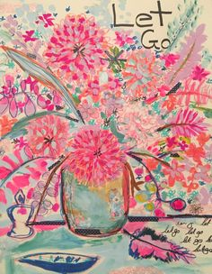 neon flower pink drawing flowers painting abstract easy drawings paper