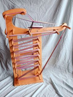 LEFT Handed Harpsichord Special - Our Largest Inkle Weaving Loom Made of Durable Red Oak Makes 18 foot Long Band Lap Table Card Tablet