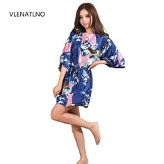Silk Satin Wedding Bride Bridesmaid Robe Floral Bathrobe Short Kimono Robe  Night Robe Bath Robe Fashion Dressing Gown For Women d5102a771