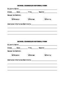 Student Self-Referral Form- savvyschoolcounselor.com | Counselor ...