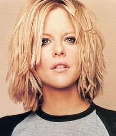 MEG RYAN choppy layered shoulder length hair cut