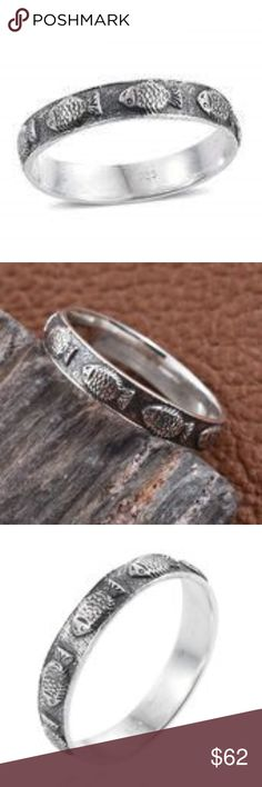Sterling Silver Fish Band Ring (Size 9.0) This sterling silver ring will give you a smart and trendy look. Wear it on any occasion. You are assured of a look that will never go unnoticed. Product Weight (grams) 3.031  Metal Purity: 925S  Metal Color: White Metal 925 Sterling Silver Jewelry Rings