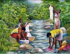 Jamaica #art #colorful #artist #river #jamaicatraveltoday #tropical #love African Art Paintings, Cool Paintings, Black Women Art, Black Art, Black Girls, Jamaican Art, African Babies, Haitian Art, Caribbean Art