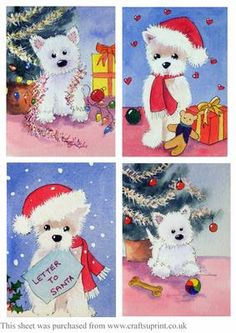 Westie Christmas Toppers on Craftsuprint - Add To Basket!