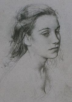 Pietro Annigoni (Italian, 1910–1988), pencil {figurative realism art beautiful female head woman face portrait cropped drawing #arthistory #twentiethcentury #2good2btrue}