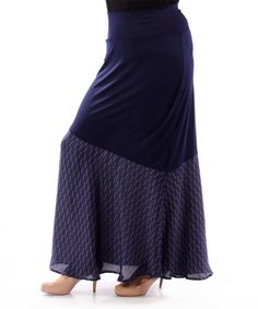 Loving this Navy Contrast Maxi Skirt - Plus on #zulily! #zulilyfinds