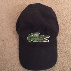 Lacoste black baseball cap Faded black Lacoste baseball cap! Leather  backing! Lacoste Accessories Hats ebf055190a4