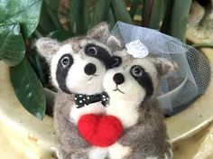 Needle felted Raccoon wedding cake topper bride and groom