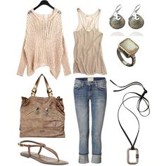 Knit Sweater / Racerback Tank / Boyfriend Jeans, created by phyllis-varley.polyvore.com