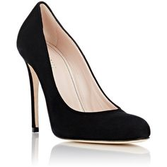 Barneys New York Women's Suede Rounded-Toe Pumps ($295) ❤ liked on Polyvore featuring shoes, pumps, slip-on shoes, slip on shoes, slip on pumps, suede slip on shoes and black high heel shoes