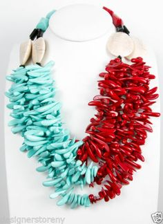 Angela Caputi Twisted Turquoise Red Resin Beads Necklace