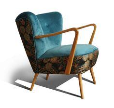 Fotel klubowy, koktajlowy, uszak, lata 60,70, PRL - Fotelownia - Kanapy i fotele