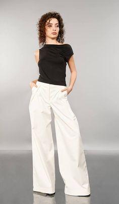 White Pants Palazzo Pants White Trousers Wide Pants High