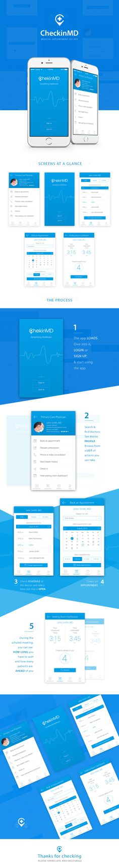 This was a redesign proposal for CheckInMD, a healthcare appointment app where patients can book appointments and contact doctors for their healthcare related problems.