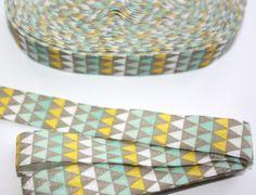 Grey Tribal Printed Fold Over Elastic 3 yards by SnickerdoodleDIY