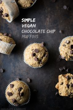 Simple #Vegan Chocolate Chip Muffins | chocolateandcarrots.com #wholewheat