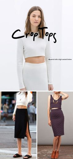 crop top and high waisted skirts