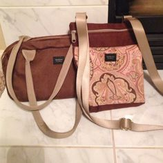 Madison handbag bundle Brown suede make up bag and brown paisley suede crossbody, both have inside pockets, used but in great condition, open to reasonable offers, no trades Madison handbags Bags