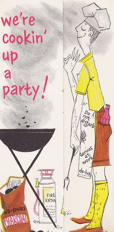 We're cookin' up a party! (Saying on invites) Vintage Postcards, Vintage Ads, Vintage Images, Vintage Sewing, Vintage Birthday Cards, Vintage Party, Vintage Invitations, Party Invitations, Invites