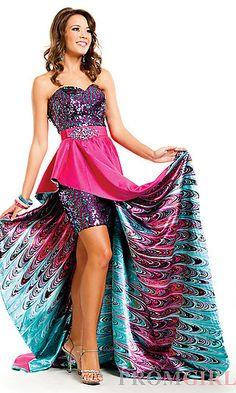 Strapless Sequin Print Dress at PromGirl.com